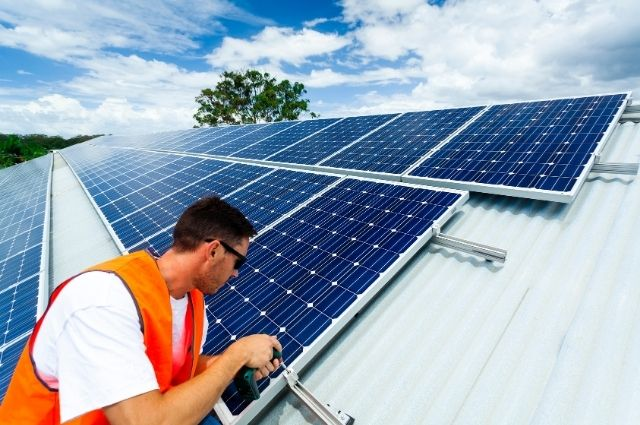 solar panel installation at home