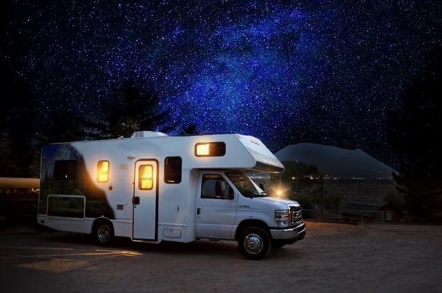 rv under a night sky